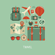 Summer travel flat vector icon set
