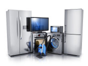Modern consumer electronics on white background