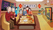 Family New Year's Eve, New Year's Eve, gather together to watch the Spring Festival Gala illustration