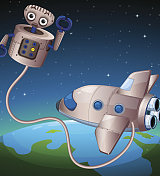 robot and an aircraft at the outerspace