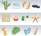 Rest and travel icon set