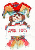watercolor painting illustration set of funny kid clown , hand drawn on paper, april fool's day concept