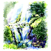 Deep forest beautiful waterfall, watercolor painting