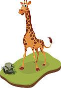 Isometric Cartoon Giraffe