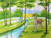 Illustration of deer in forest