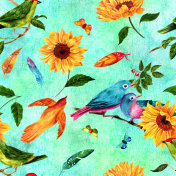 Seamless pattern with watercolor birds, feathers, sunflowers and butterflies
