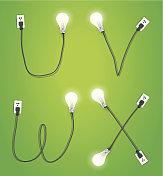 Vector creative light bulb idea alphabet design