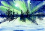 Aurora landscape watercolor painting