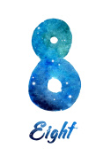 "watercolor of galaxy or night sky with stars number ""Eight"""