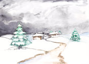 Watercolor winter landscape with river and pine trees