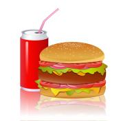 burger with cold drink