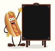 Funny Hot Dog and Blackboard