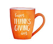 Hand drawn 'Happy Thanksgiving Day' card with bright joyful mug, holiday words, beautiful seasonal color.
