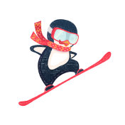 penguin snowboarder at jump