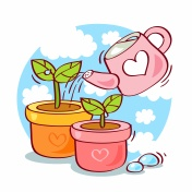 illustration of potted plant and watering can