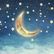 Moon and Star at Night Illustration