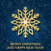 Greeting card with golden text and big snowflake on a blue background