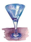 Hand painted watercolor martini glass.