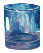 Hand painted watercolor drinking glass.