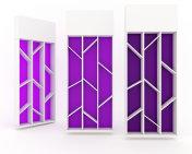 Shelf cabinet design with violet color backing