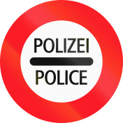 Road sign used in Switzerland - Police checkpoint, Polizei means Police in German