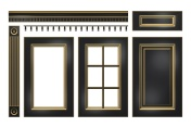 Black with gold door, drawer, column, cornice for kitchen cabinet isolated on white