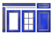 Blue with gold door, drawer, column, cornice for kitchen cabinet isolated on white