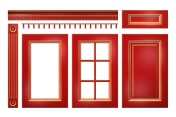 Red with gold door, drawer, column, cornice for kitchen cabinet isolated on white