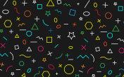 Math pattern on black background. Color Symbol Math.