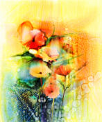 Abstract flowers watercolor painting