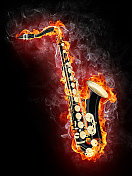 Saxophone in Flame