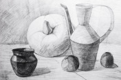 pitchers, apples and pumpkin drawn in pencil