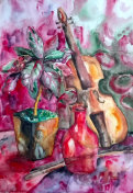 watercolor painting, still life with violin