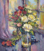 painted still life with peonies and grapes