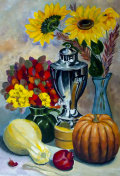 Still life. A painting depicting a still life, a vase, dishes, a