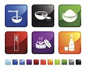 Japanese Food Restaurant royalty free vector icon set