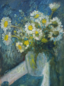 Still life with white camomiles in a white vase