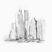 Sketch of skyscraper on white background. Picture of Manhattan