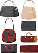 Set of cartoon handbags