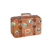 Watercolor hand-painted old retro brown baggage illustration sketch on white background