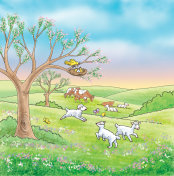 Some farm animals and nature - jpg illustration