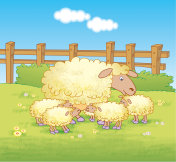 Mother sheep and lambs in in a meadow - jpg illustration