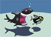 Cartoon shark and small fish