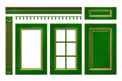 Green with gold door, drawer, column, cornice for kitchen cabinet isolated on white