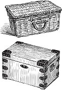 vintage chest and busket