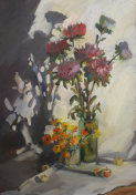 picturesque still life with oil paints, still life with summer flowers