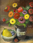 Oil painted still life with flowers,pear and plums