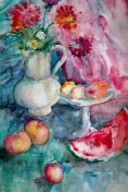 watercolor still life, still life with flowers and watermelon