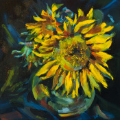 Hand painted stillife with sunflowers