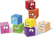 colorful childish cubes cartoon